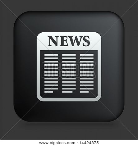Newspaper Icon on Square Black Internet Button Original Illustration