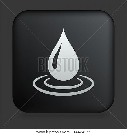 Rain Droplet Icon on Square Black Internet Button Original Illustration