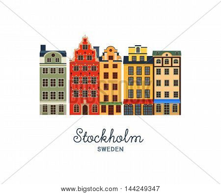 Gamla stan - Old Town of Stockholm, capital of Sweden. Vector illustration