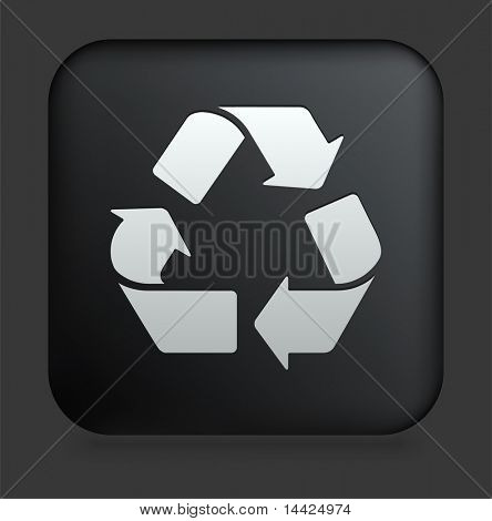 Recycle Icon on Square Black Internet Button Original Illustration