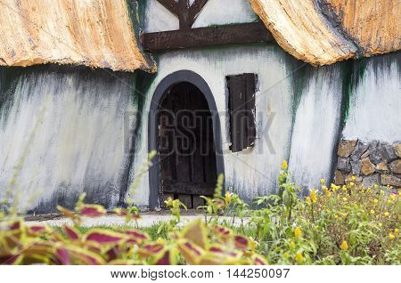 Close up of a demo of dwarf house