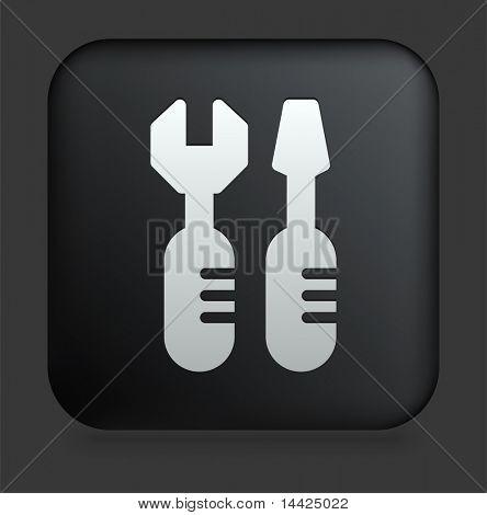 Tools Icon on Square Black Internet Button Original Illustration