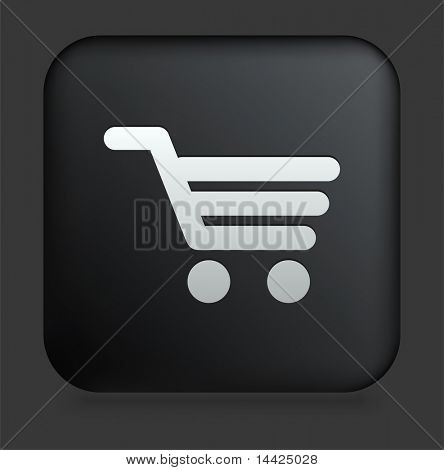 Shopping Cart Icon on Square Black Internet Button Original Illustration