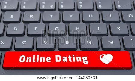 Red Online Dating Button On Keyboard Concept