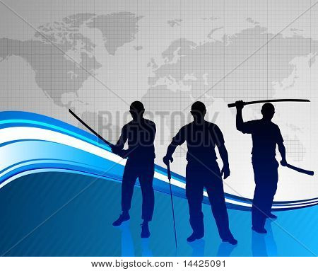 Karate Sensei with Sword on Abstract World Map Background  Original Illustration