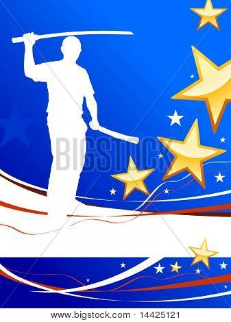 Karate Sensei with Sword on Abstract USA Flag Background Original Illustration