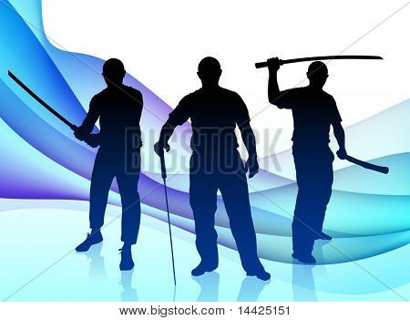 Karate Sensei with Sword on Abstract Wave Background Original Illustration