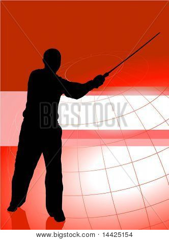 Karate Sensei with Sword on Red Business Background Original Illustration