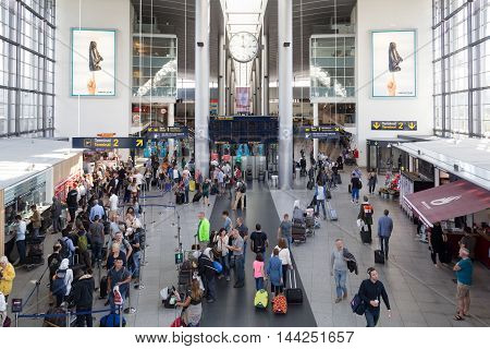 Copenhagen, Denmark - August 19, 2016: Check-In hall inside the airport