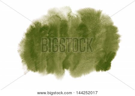 Green Brown Watercolor Stain Isolated On White Background.