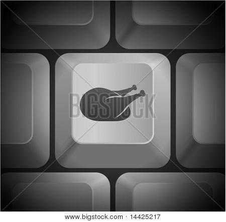 Turkey Icon on Computer Keyboard Original Illustration