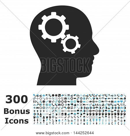 Brain Gears icon with 300 bonus icons. Vector illustration style is flat iconic bicolor symbols, blue and gray colors, white background.