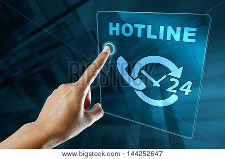 a woman finger call a hotline on a digital screen