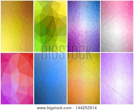 Vector set of eight geometric and low poly backgrounds with colorful polygons. These polygonals backgrounds are ideal for screen HD wallpaper on cell phones brochures magazines leaflets or other works and designs.