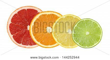 cut grapefruit orange lemon and lime fruits isolated on white background with clipping path