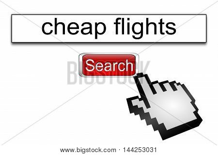 Internet web search engine cheap flights - 3D illustration