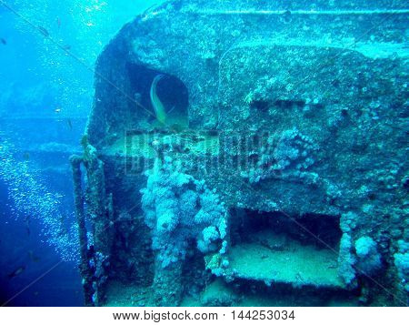 Locomotive of the Thistlegorm wreck in Red Sea sank in 1942.