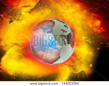 Large luminous ball - the planet earth. the world explosion