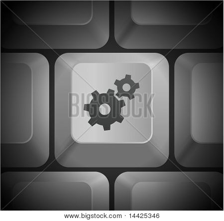 Gear Icon on Computer Keyboard Original Illustration