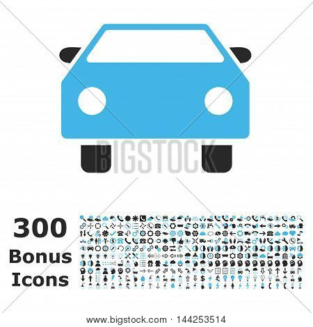 Car icon with 300 bonus icons. Vector illustration style is flat iconic bicolor symbols, blue and gray colors, white background.