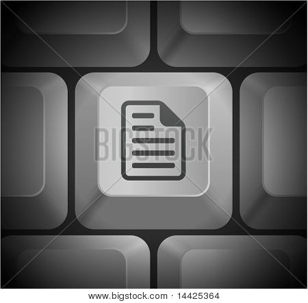 Document Icon on Computer Keyboard Original Illustration