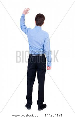 Back view of beautiful business man welcomes.  Young businessman in suit. Rear view  people collection.  backside view of person.  Isolated over white background. Businessman in blue shirt, waving.