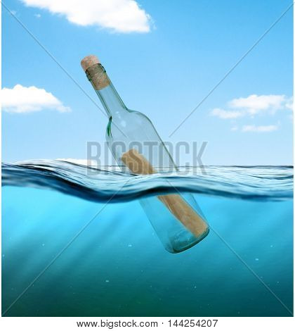 Bottle with a letter from the wreck. A bottle with a note floating in the ocean.