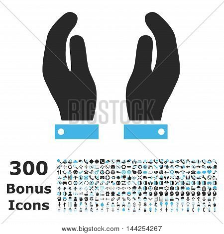 Care Hands icon with 300 bonus icons. Vector illustration style is flat iconic bicolor symbols, blue and gray colors, white background.