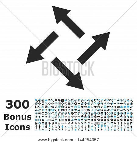 Centrifugal Arrows icon with 300 bonus icons. Vector illustration style is flat iconic bicolor symbols, blue and gray colors, white background.