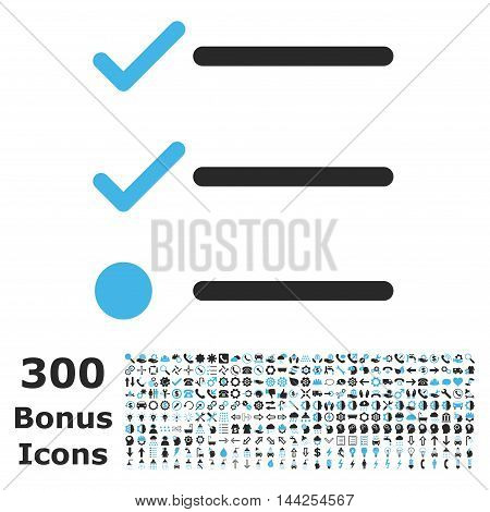 Checklist icon with 300 bonus icons. Vector illustration style is flat iconic bicolor symbols, blue and gray colors, white background.