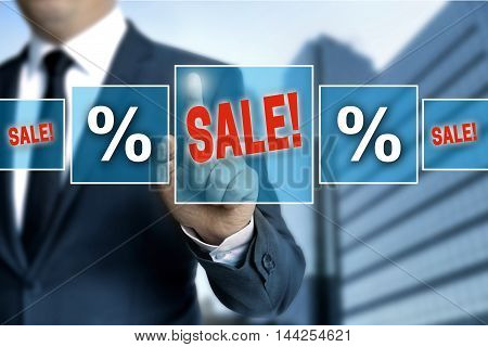 Sale touchscreen is operated by businessman background?