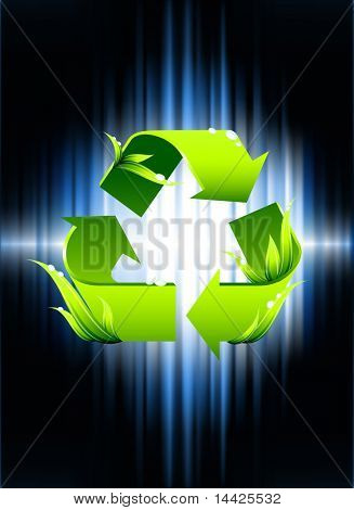 Recycle Symbol on Abstract Spectrum Background Original Illustration