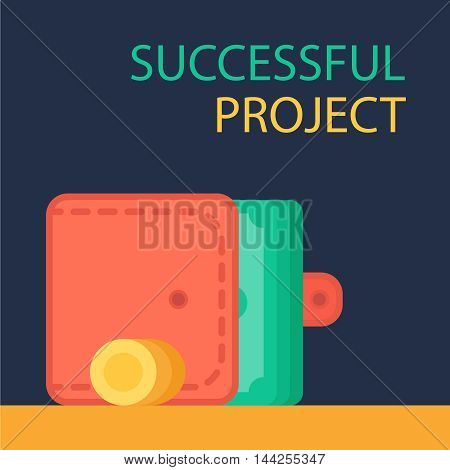 Successful investing concept. Bank holding. Financial budget banner. Money coins with purse. Earnings and payments symbol. Vector