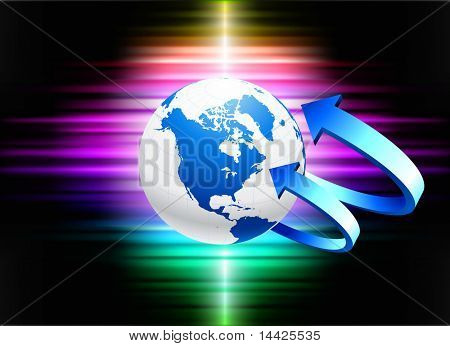 Globe on Abstract Spectrum Background Original Illustration