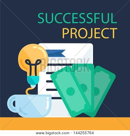 Successful investing concept. Bank holding. Financial budget banner. Money from idea document. Patent symbol. Vector