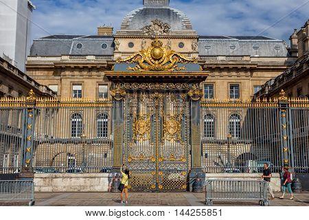 PARIS, FRANCE - CIRCA JUNE, 2014: Beautiful Palais de Justice in Paris, France in June, 2014.