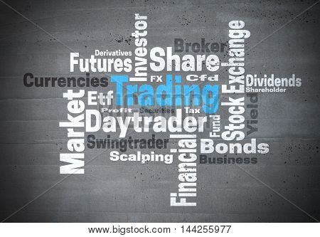 Trading daytrader stock exchange word cloud concept.