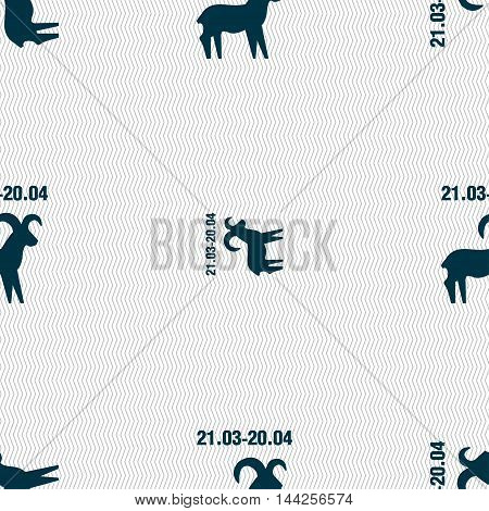 Decorative Zodiac Aries Sign. Seamless Pattern With Geometric Texture. Vector