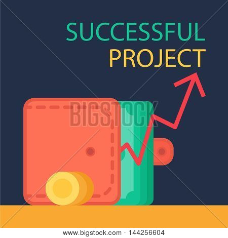 Successful investing concept. Bank holding. Financial budget banner. Money coins purse and graph. Earnings and payments symbol. Patent illustration. Vector