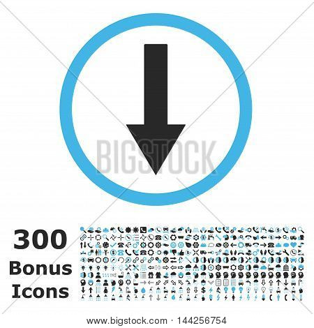 Down Rounded Arrow icon with 300 bonus icons. Vector illustration style is flat iconic bicolor symbols, blue and gray colors, white background.
