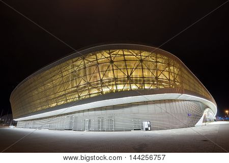 SOCHI, RUSSIA - CIRCA MARCH 2015:  Adler-Arena is one of Olympic objects of winter Olympic games 2014 year and situated in the Olympic park in Sochi. Now it is used as tennis academy
