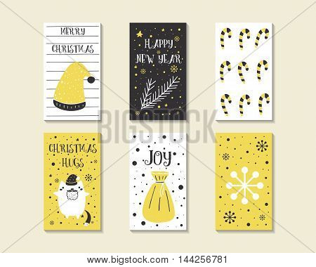 Cute hand drawn doodle Christmas cards brochures postcards with christmas hat stick sant cat bag christmas branch snowflake snow. Christmas holiday background elements Printable tags set