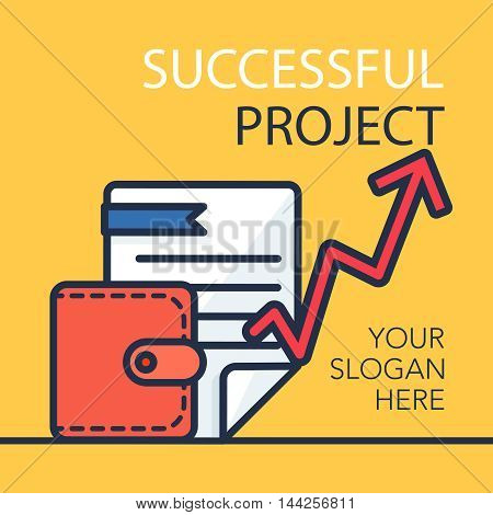 Successful investing concept. Bank holding. Financial budget banner. Money document purse and graph. Earnings and payments symbol. Patent illustration. Vector