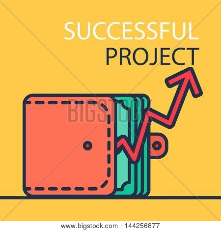 Successful investing concept. Bank holding. Financial budget banner. Money purse and graph. Earnings and payments symbol. Patent illustration. Vector