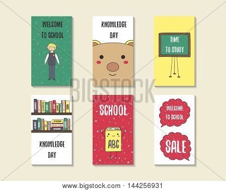 Cute doodle back to school cards brochures invitations with pupil boy bear blackboard book shelves dialog bubbles. Cartoon objects background. Printable templates tags set