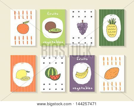 Cute hand drawn doodle cards brochures with fruits and vegeatbles including orange kiwi grapes pineapple lemon watermelon bananamango. Cartoon fruits background. Printable templates tags set
