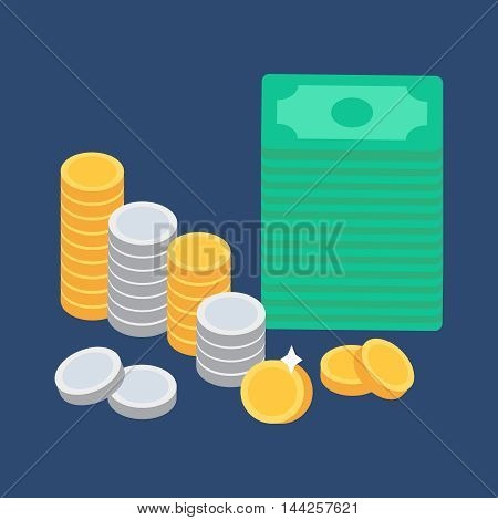 Money and coins. Commerce concept and store symbol. Vector