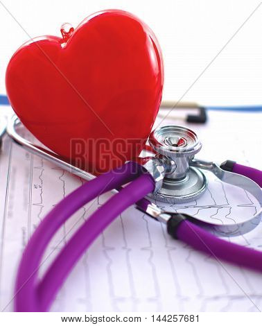 Doctor stethoscope on the heart of your computer desktop.