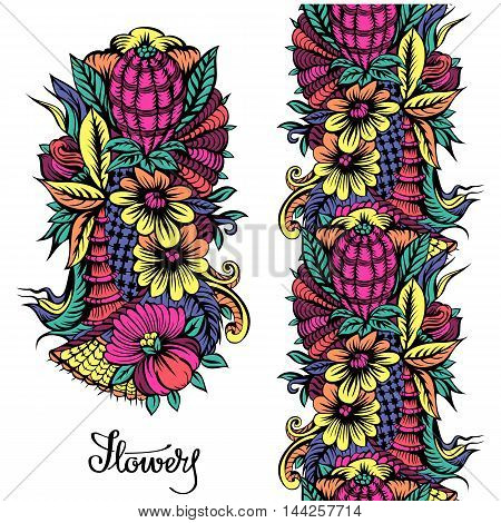 Element of floral ornament and bright seamless pattern for design.
