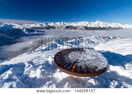 Orientation table on top of mountain Vogel, ski slope in slovenian Alps, Slovenia.
